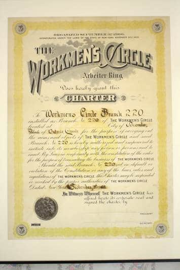 Charter for the first Workmen's Circle branch - 1908